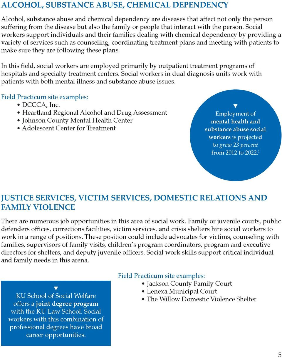 Social workers support individuals and their families dealing with chemical dependency by providing a variety of services such as counseling, coordinating treatment plans and meeting with patients to