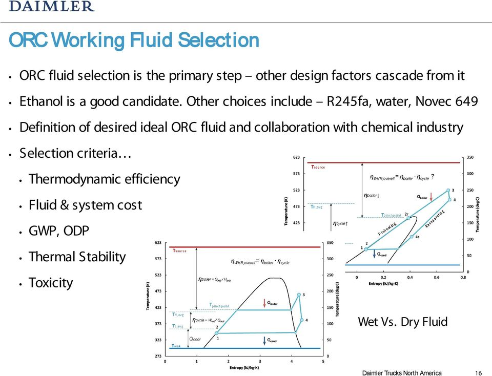Other choices include R245fa, water, Novec 649 Definition of desired ideal ORC fluid and collaboration