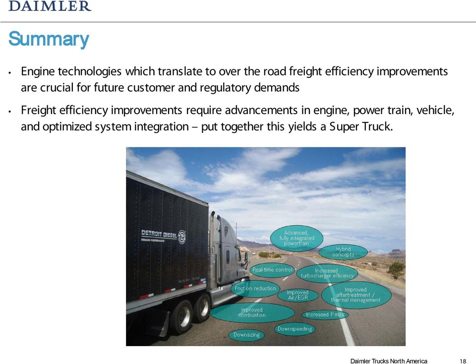 efficiency improvements require advancements in engine, power train, vehicle, and