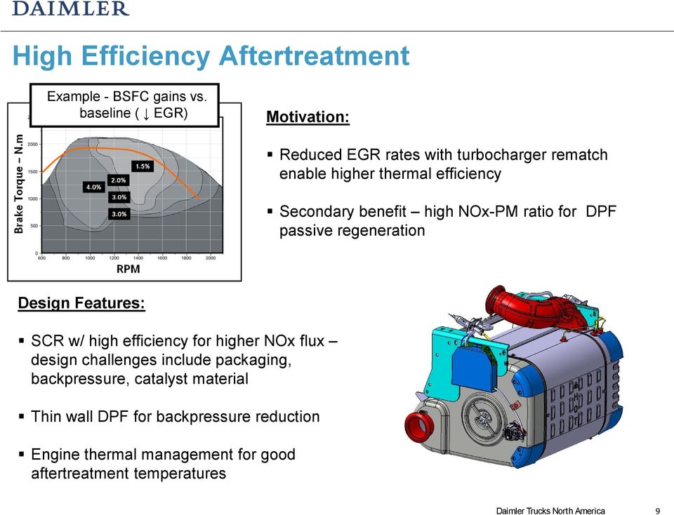 high NOx-PM ratio for DPF passive regeneration Design Features: SCR w/ high efficiency for higher NOx flux design