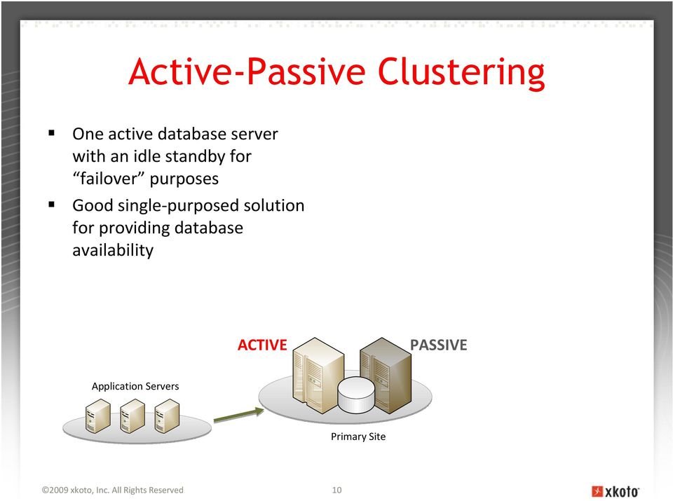 solution for providing database availability ACTIVE PASSIVE