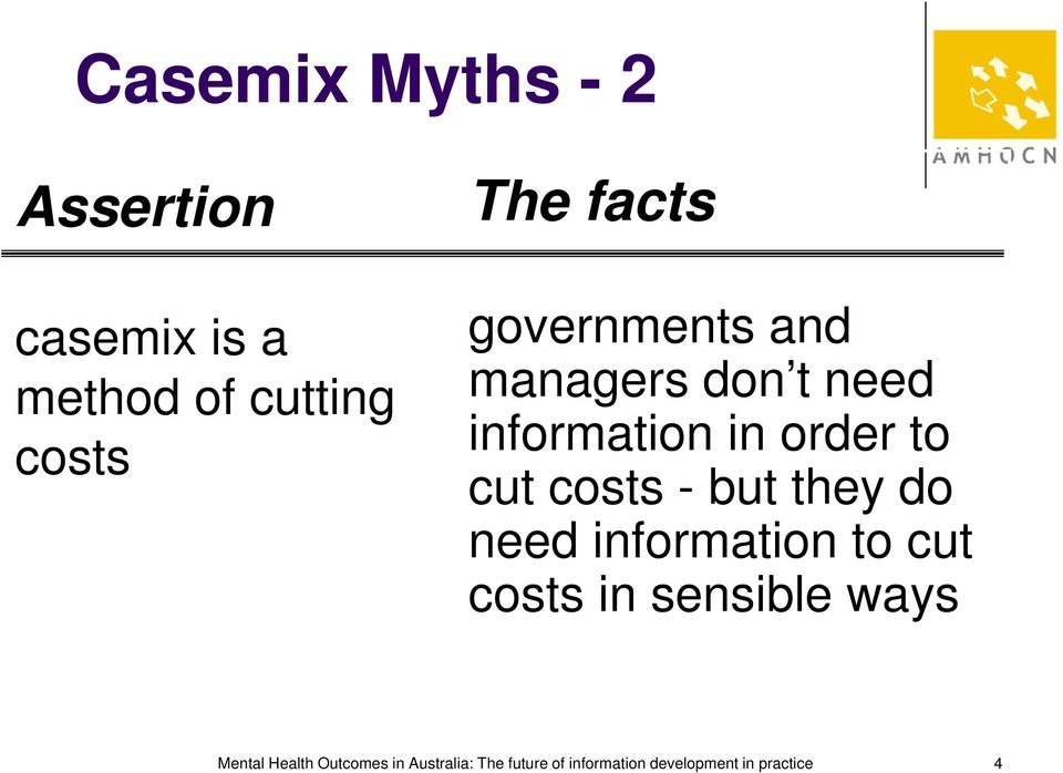 costs - but they do need information to cut costs in sensible ways Mental