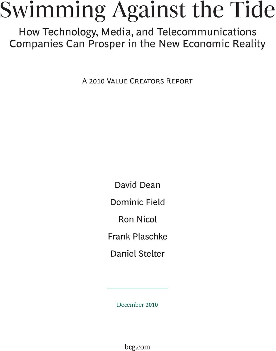 Economic Reality A V C R David Dean Dominic Field Ron