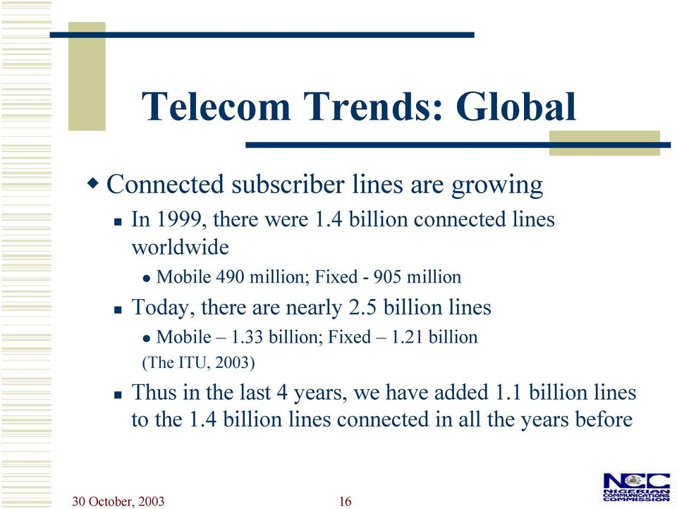 nearly 2.5 billion lines Mobile 1.33 billion; Fixed 1.