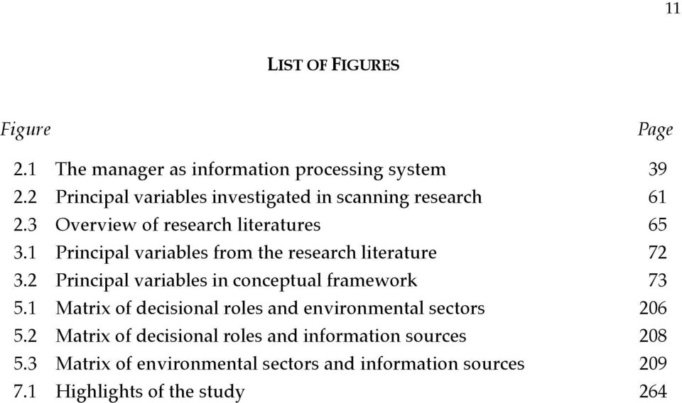 1 Principal variables from the research literature 72 3.2 Principal variables in conceptual framework 73 5.