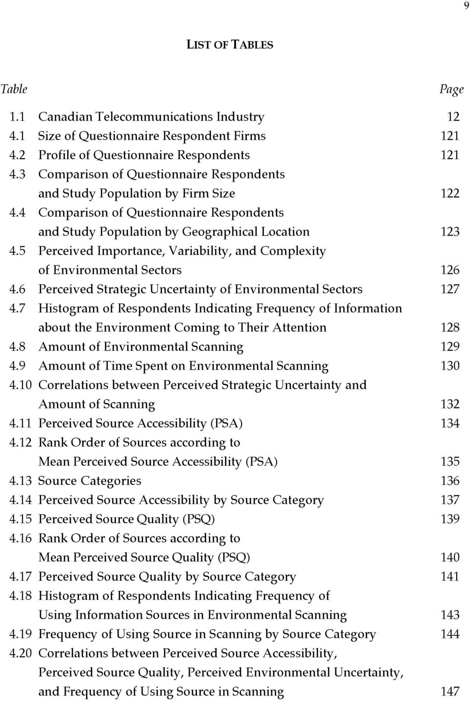 5 Perceived Importance, Variability, and Complexity of Environmental Sectors 126 4.6 Perceived Strategic Uncertainty of Environmental Sectors 127 4.