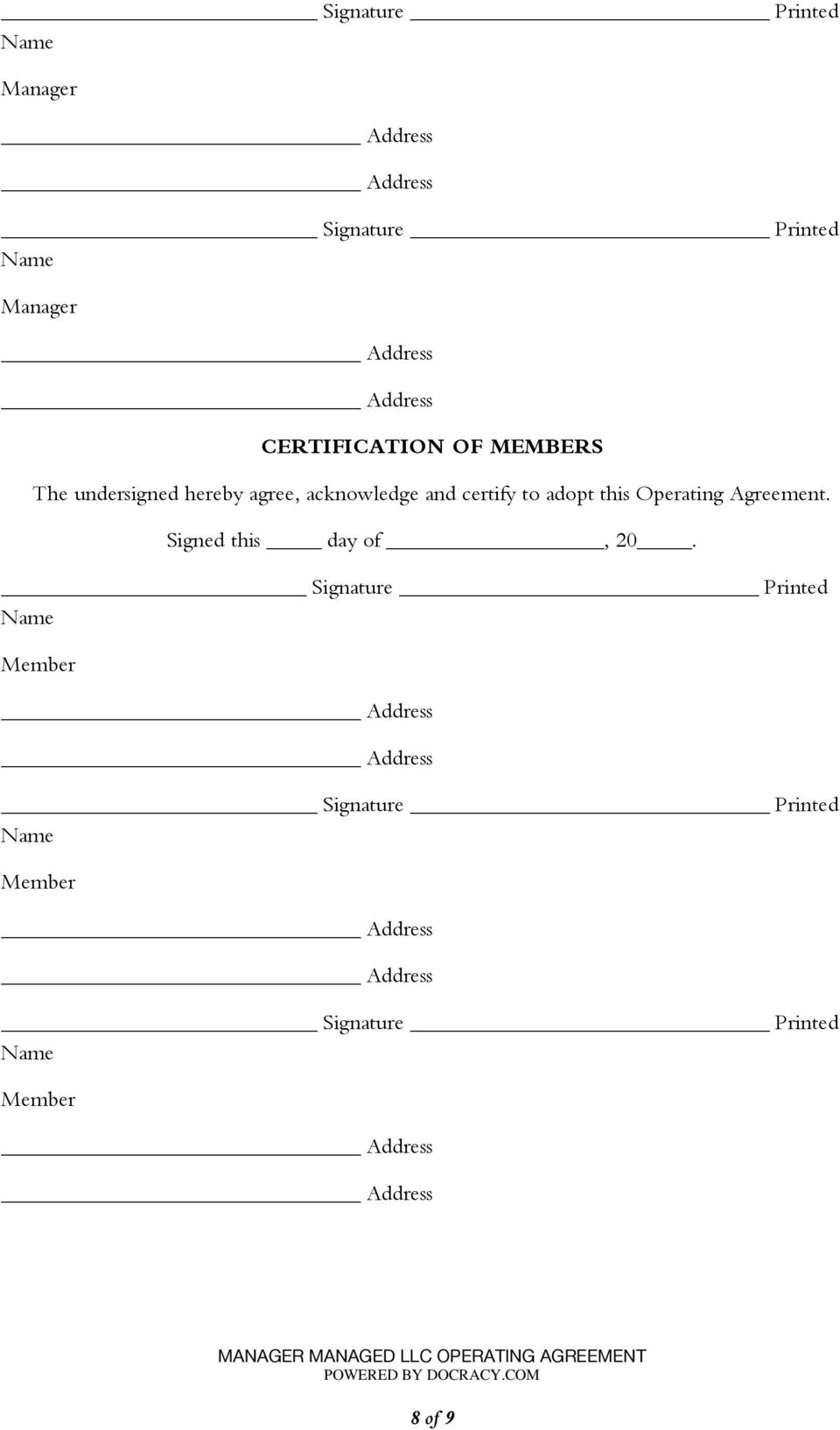 Manager Managed Llc Operating Agreement Pdf