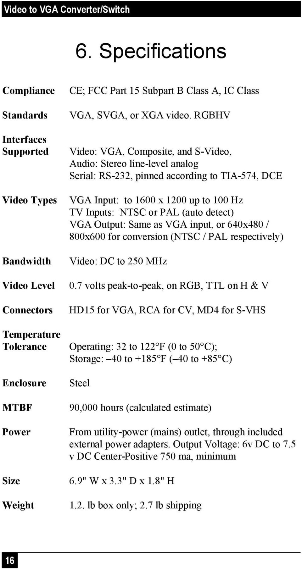 RGBHV Video: VGA, Composite, and S-Video, Audio: Stereo line-level analog Serial: RS-232, pinned according to TIA-574, DCE VGA Input: to 1600 x 1200 up to 100 Hz TV Inputs: NTSC or PAL (auto detect)