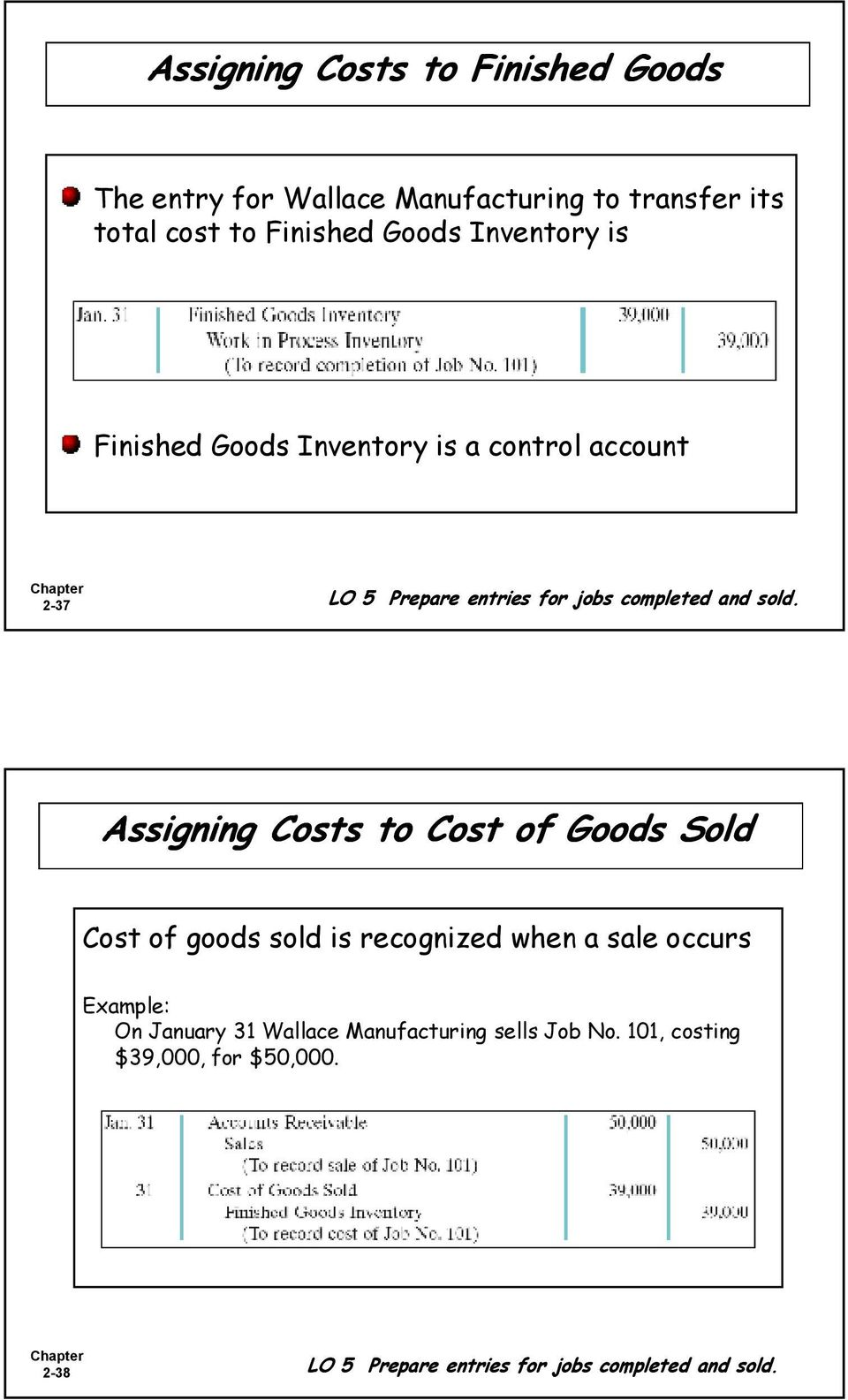 Assigning Costs to Cost of Goods Sold Cost of goods sold is recognized when a sale occurs Example: On January 31