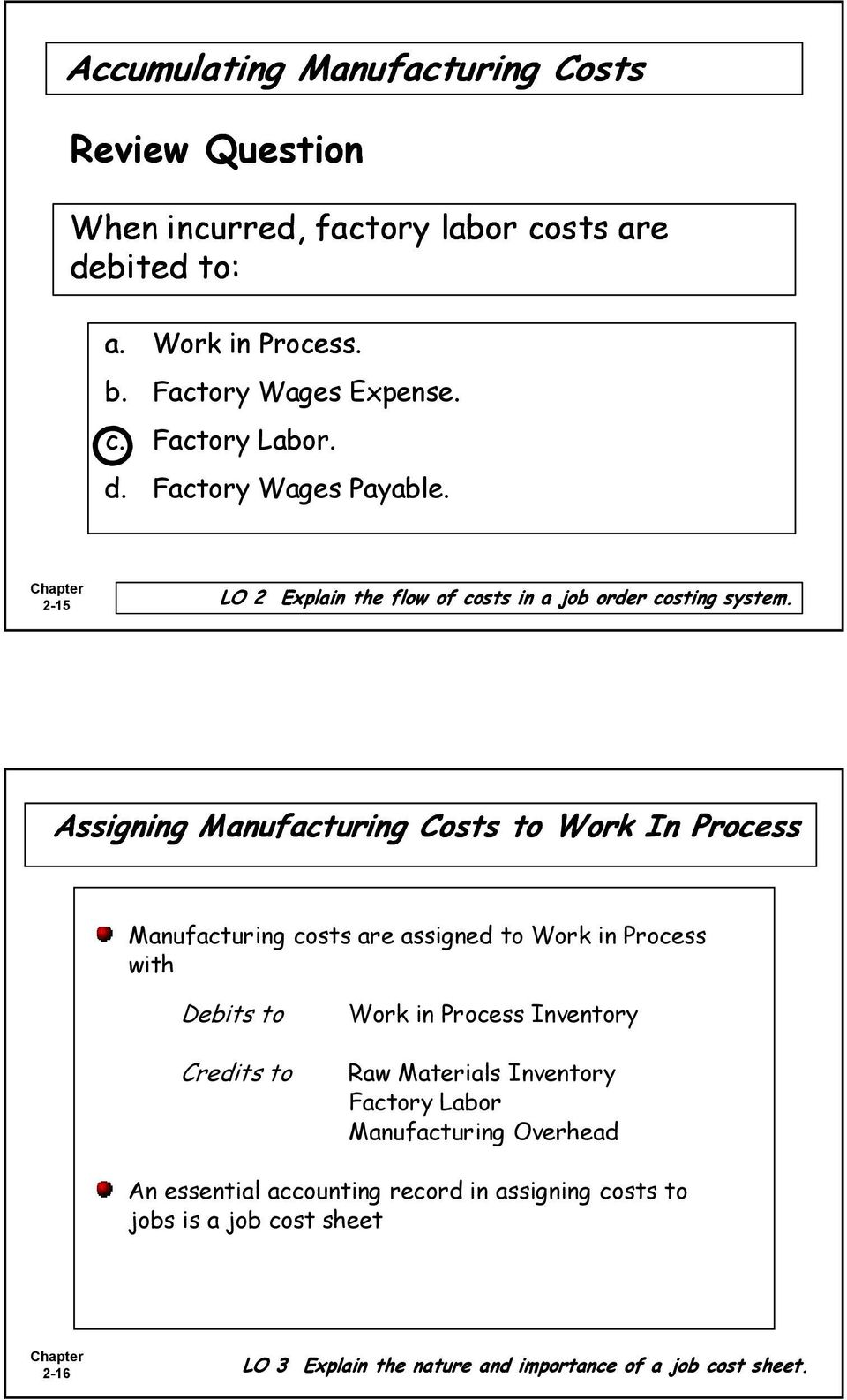 Assigning Manufacturing Costs to Work In Process Manufacturing costs are assigned to Work in Process with Debits to Credits to Work in