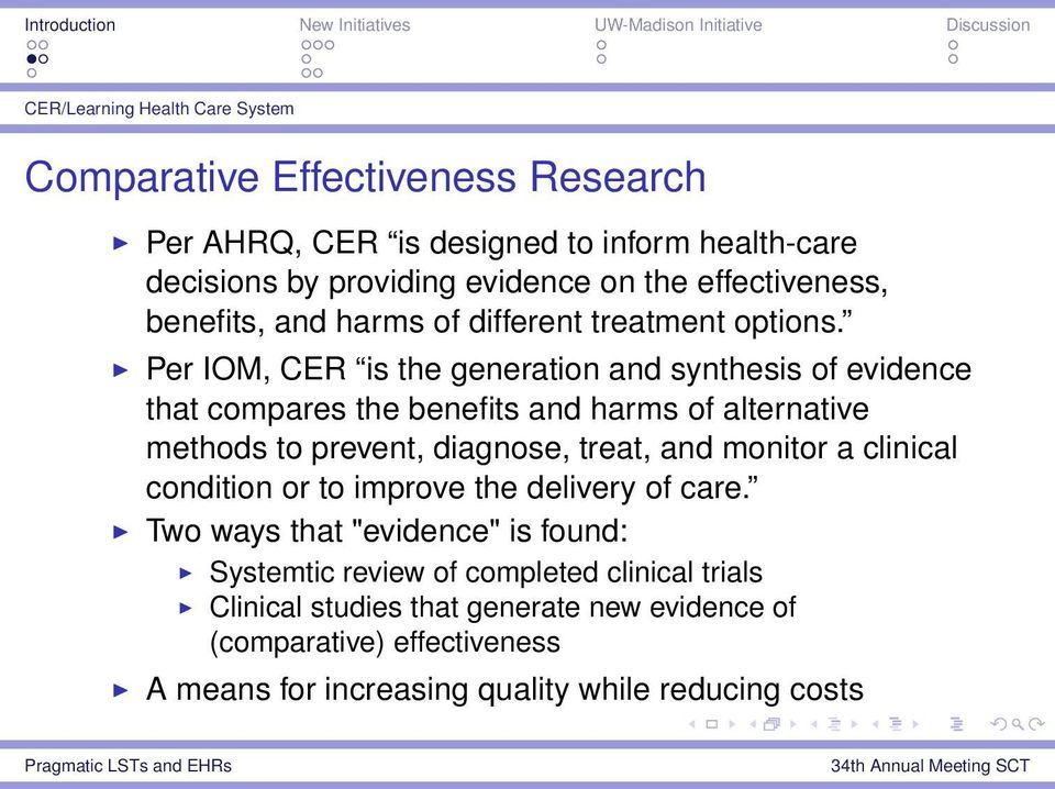 Per IOM, CER is the generation and synthesis of evidence that compares the benefits and harms of alternative methods to prevent, diagnose, treat, and monitor a