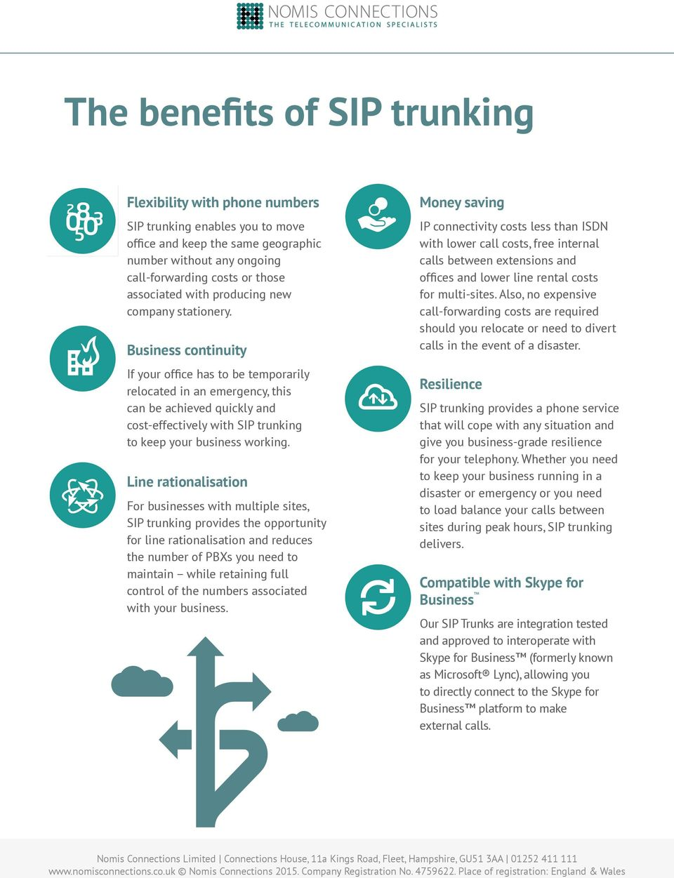 Business continuity If your office has to be temporarily relocated in an emergency, this can be achieved quickly and cost-effectively with SIP trunking to keep your business working.