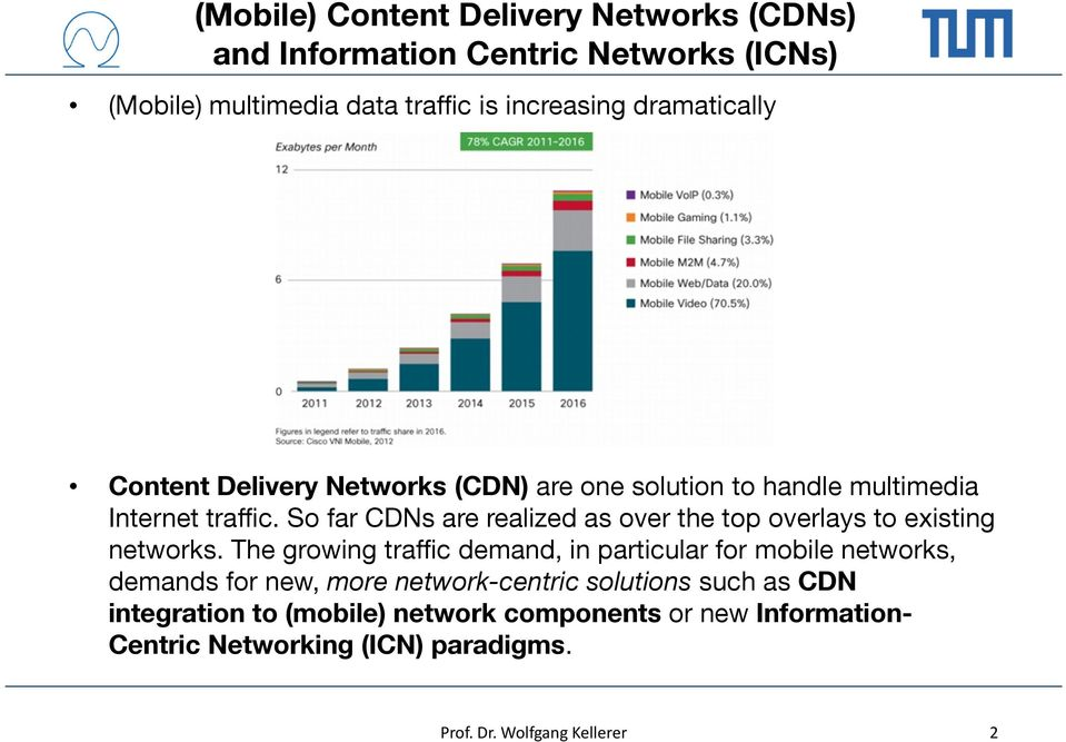 So far CDNs are realized as over the top overlays to existing networks.