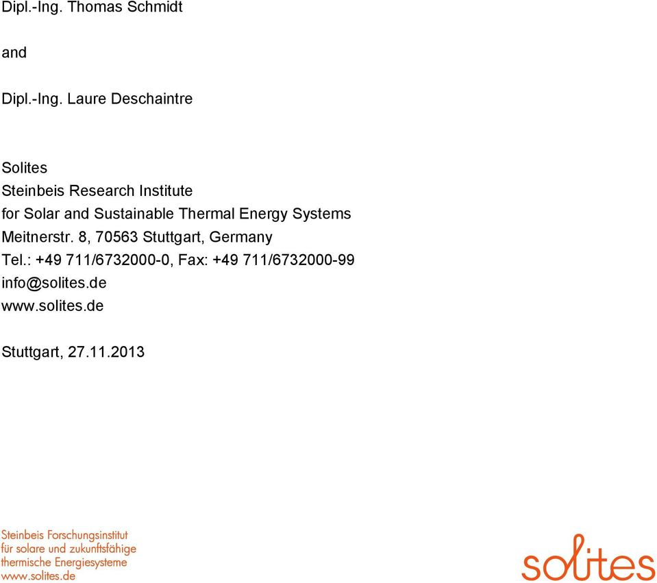 Institute for Solar and Sustainable Thermal Energy Systems