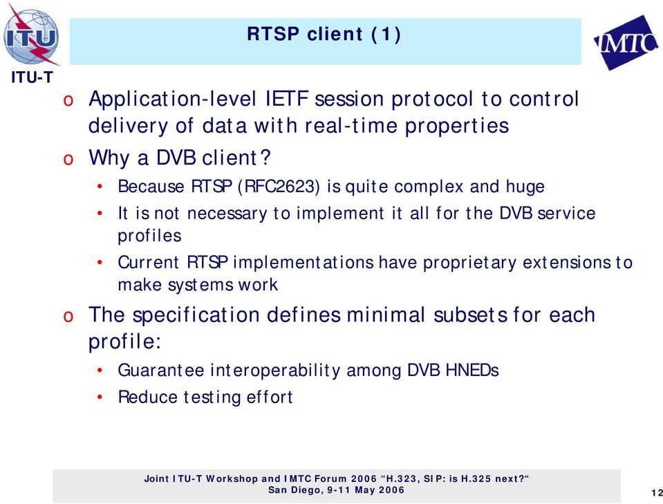 Because RTSP (RFC2623) is quite cmplex and huge It is nt necessary t implement it all fr the DVB service prfiles