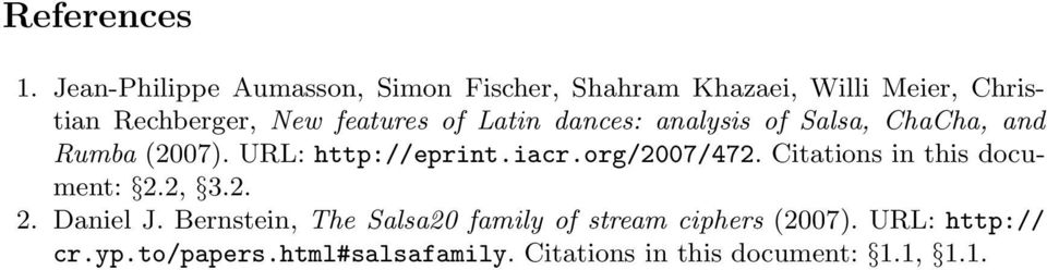 features of Latin dances: analysis of Salsa, ChaCha, and Rumba (2007). URL: http://eprint.iacr.
