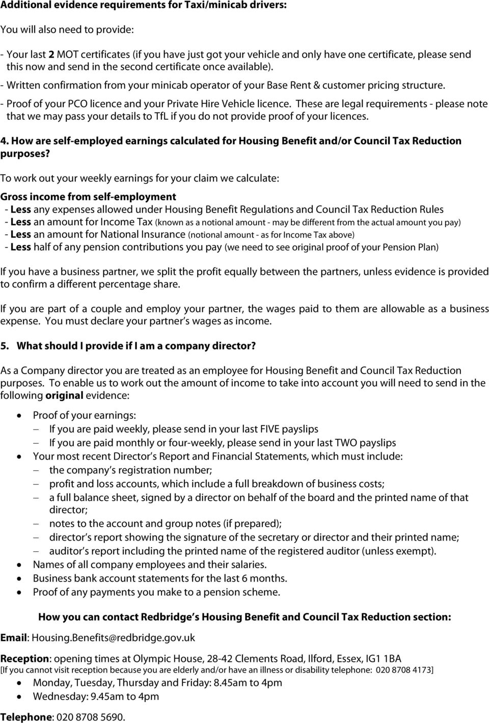 housing benefit and council tax reduction: self-employed earnings