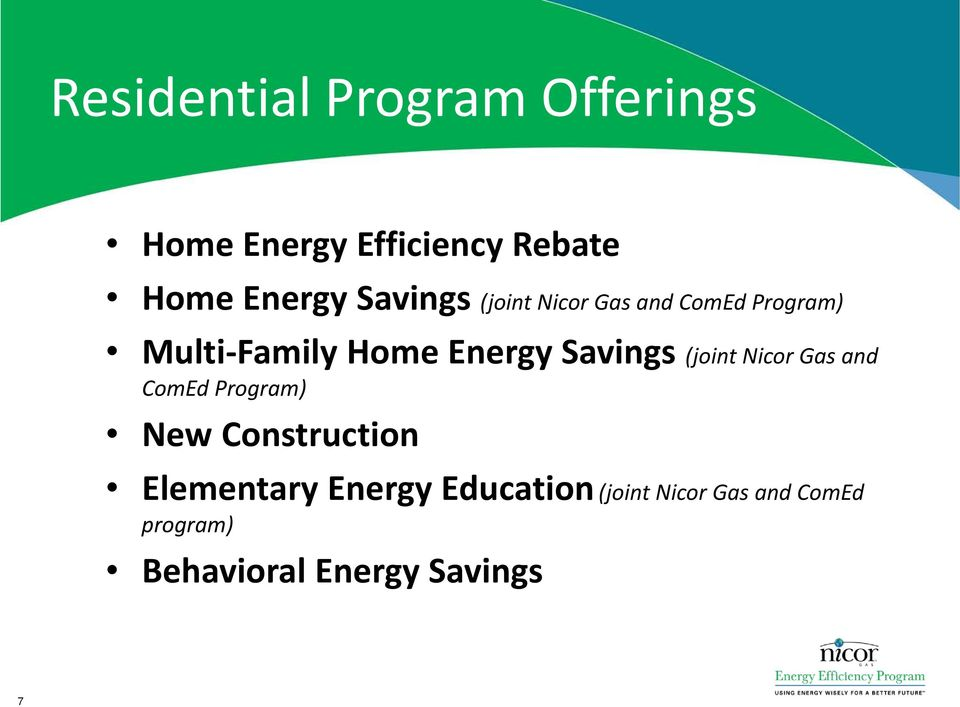 Savings (joint Nicor Gas and ComEd Program) New Construction Elementary