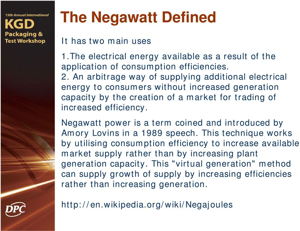 Negawatt power is a term coined and introduced by Amory Lovins in a 1989 speech.