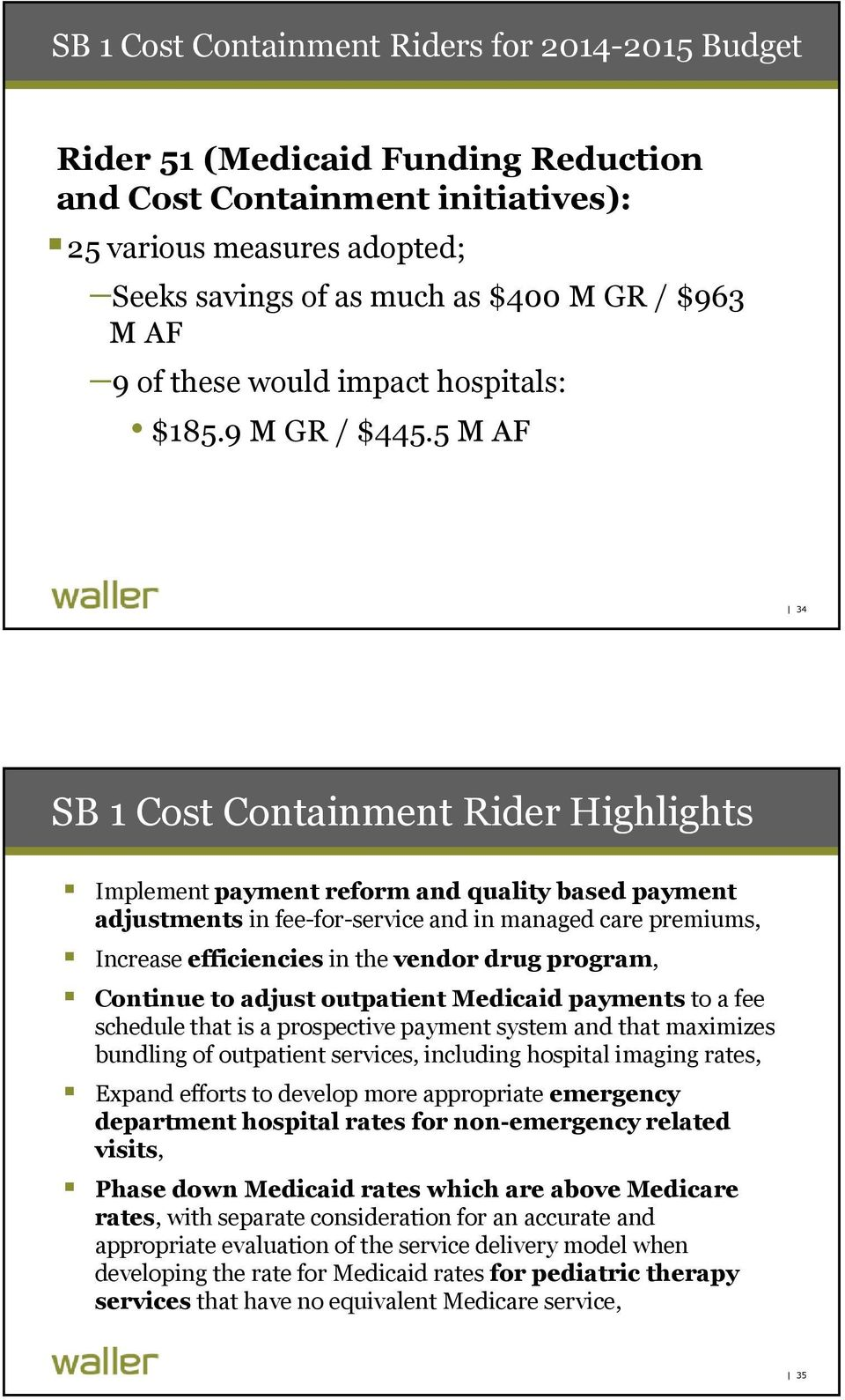 5 M AF 34 SB 1 Cost Containment Rider Highlights Implement payment reform and quality based payment adjustments in fee-for-service and in managed care premiums, Increase efficiencies in the vendor