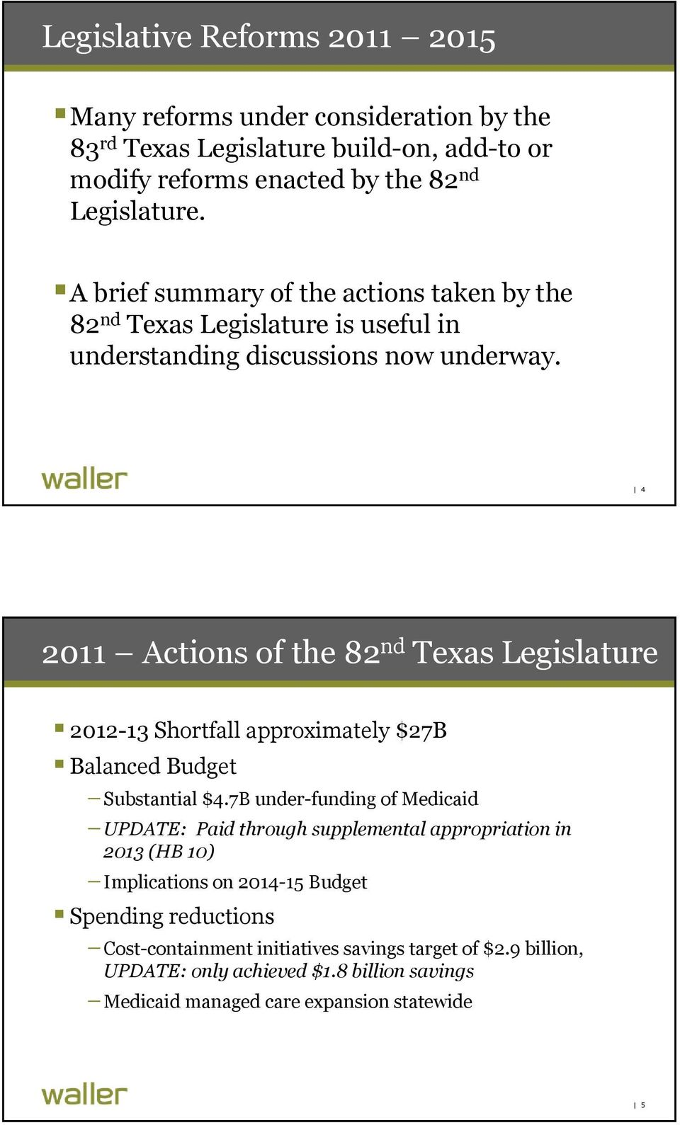 4 2011 Actions of the 82 nd Texas Legislature 2012-13 Shortfall approximately $27B Balanced Budget Substantial $4.
