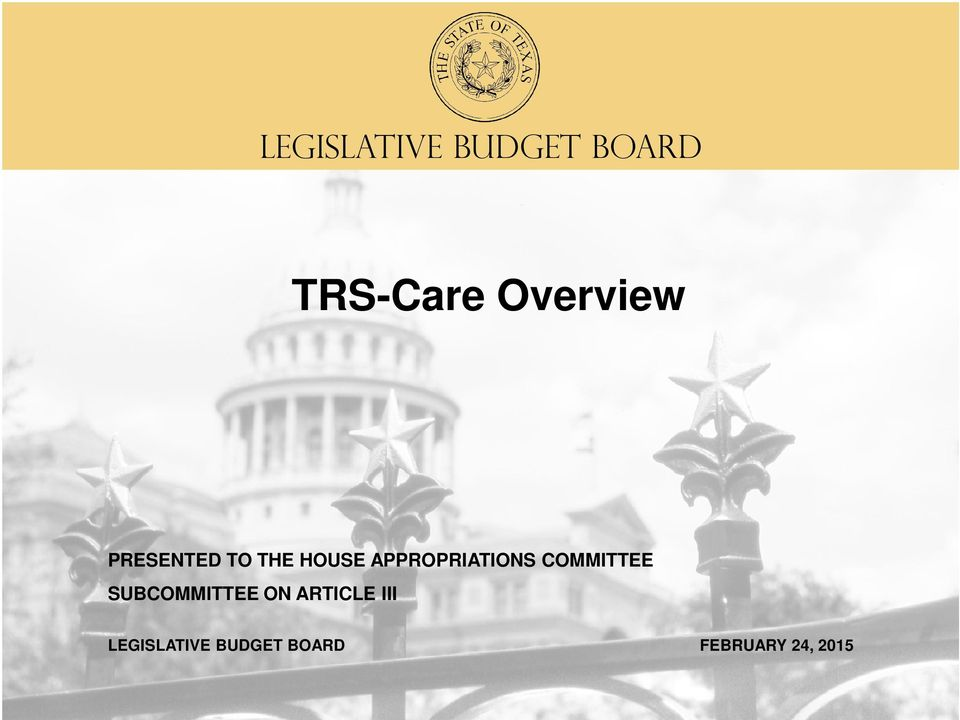 APPROPRIATIONS COMMITTEE SUBCOMMITTEE ON