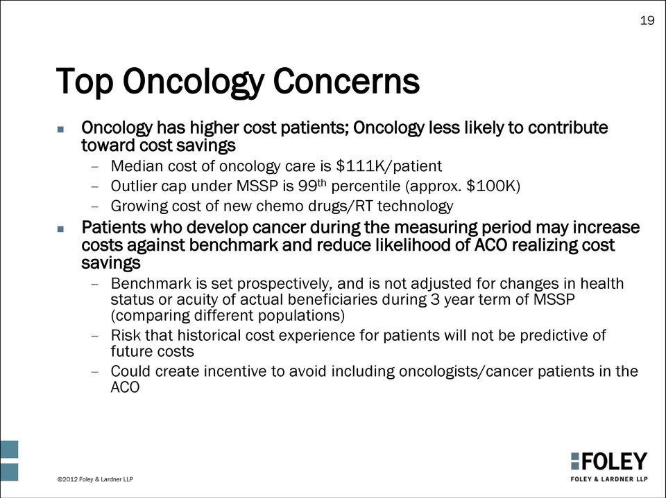 $100K) Growing cost of new chemo drugs/rt technology Patients who develop cancer during the measuring period may increase costs against benchmark and reduce likelihood of ACO realizing