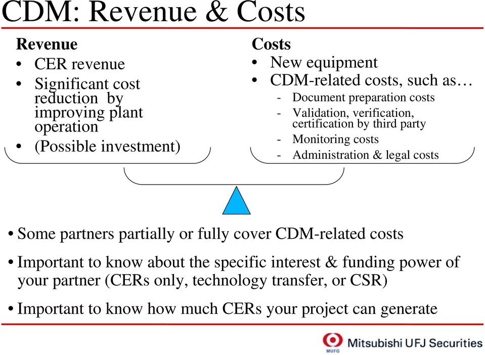 Monitoring costs - Administration & legal costs Some partners partially or fully cover CDM-related costs Important to know about the