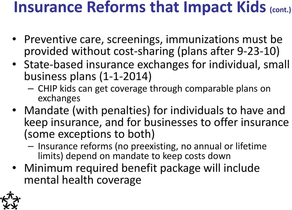 individual, small business plans (1 1 2014) CHIP kids can get coverage through comparable plans on exchanges Mandate (with penalties) for