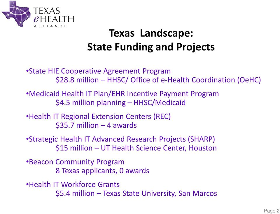 5 million planning HHSC/Medicaid Health IT Regional Extension Centers (REC) $35.
