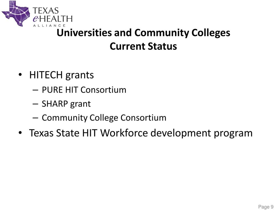SHARP grant Community College Consortium