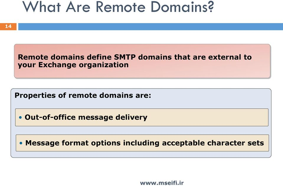 your Exchange organization Properties of remote domains