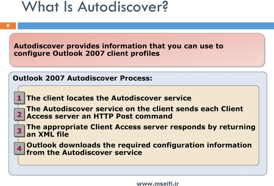 Autodiscover Process: 1 2 3 4 The client locates the Autodiscover service The Autodiscover service on the client