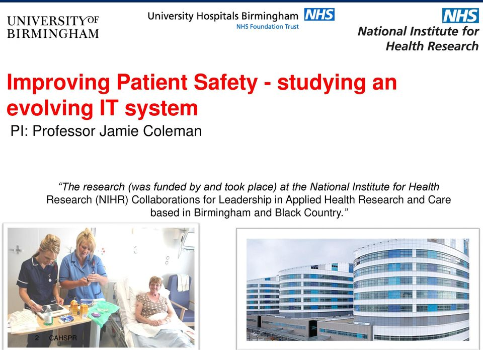 National Institute for Health Research (NIHR) Collaborations for