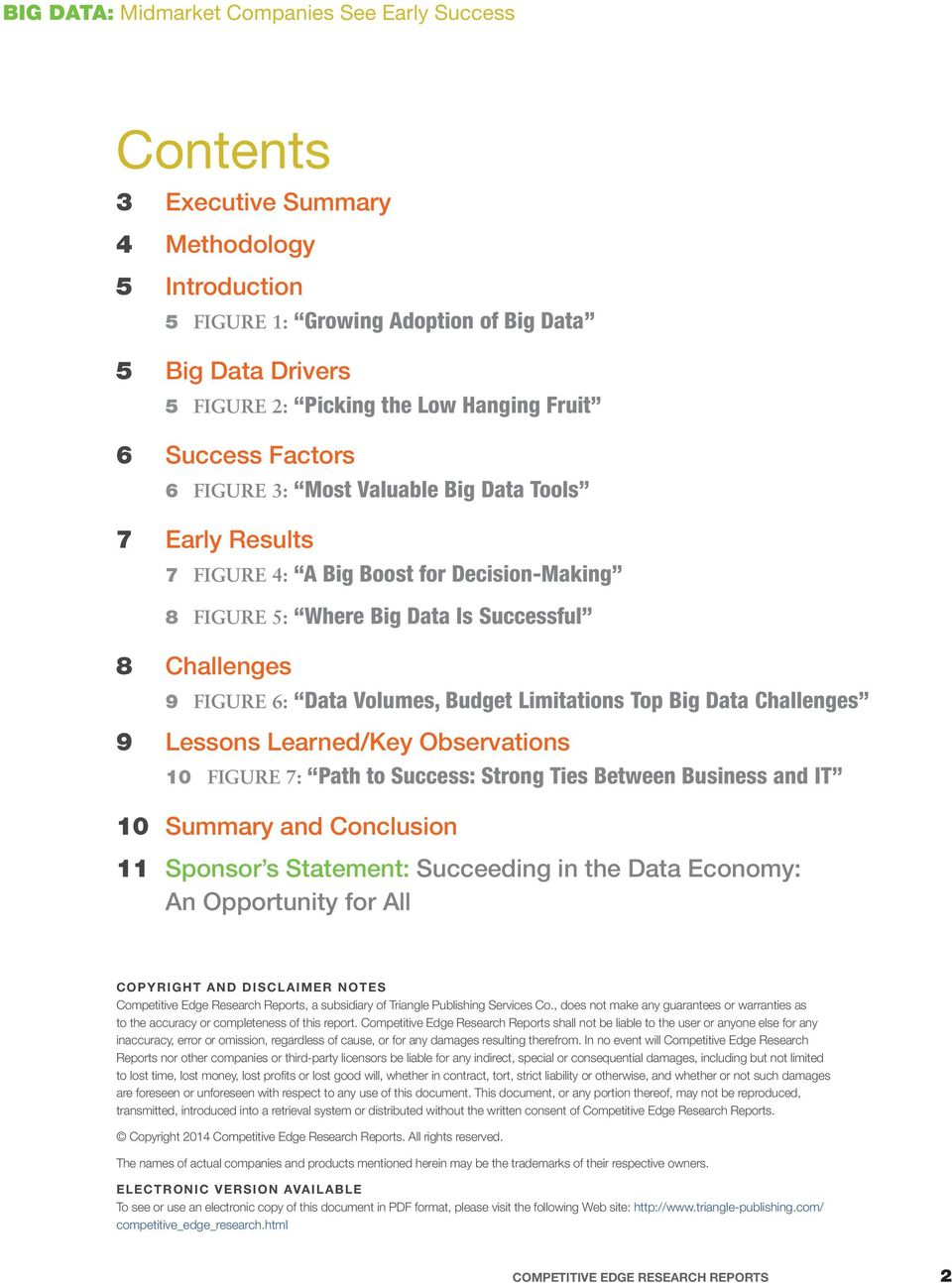 Challenges 9 Lessons Learned/Key Observations 10 FIGURE 7: Path to Success: Strong Ties Between Business and IT 10 Summary and Conclusion 11 Sponsor s Statement: Succeeding in the Data Economy: An
