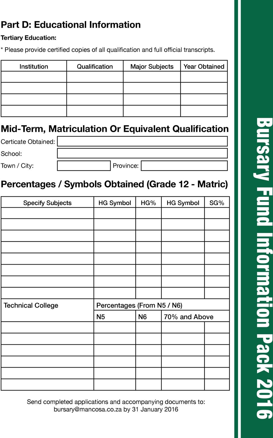 Institution Qualification Major Subjects Year Obtained Mid-Term, Matriculation Or Equivalent Qualification