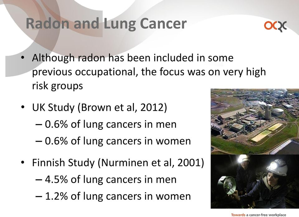 2012) 0.6% of lung cancers in men 0.