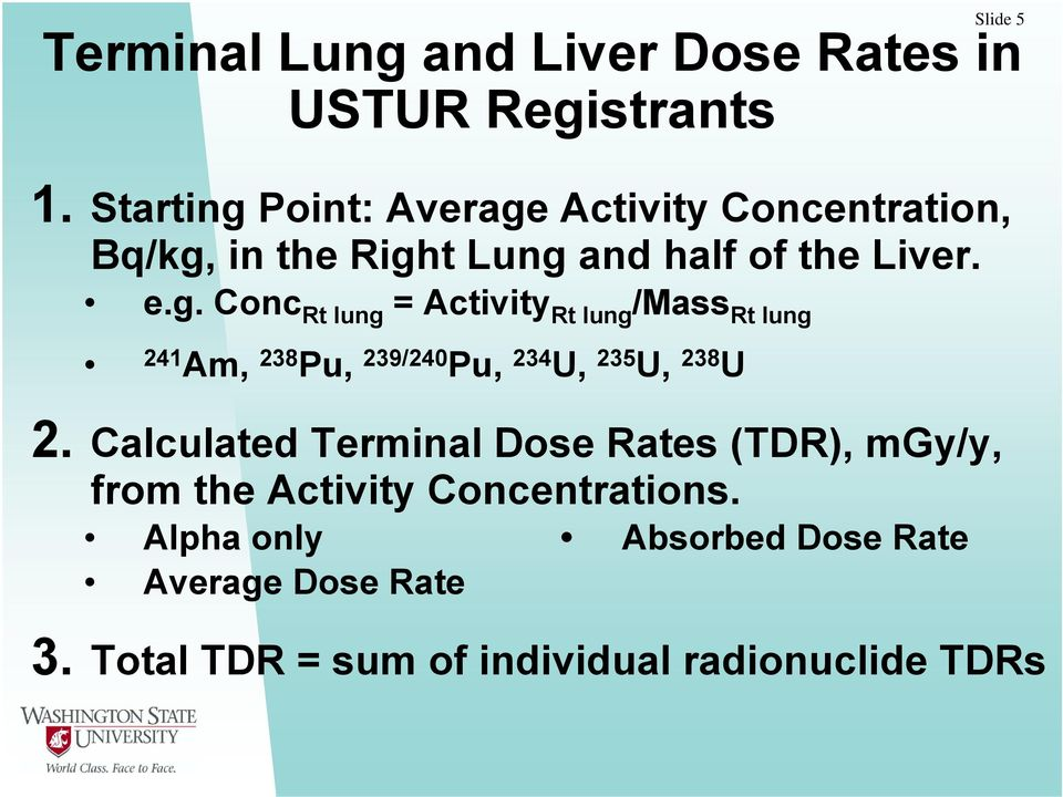 Calculated Terminal Dose Rates (TDR), mgy/y, from the Activity Concentrations.
