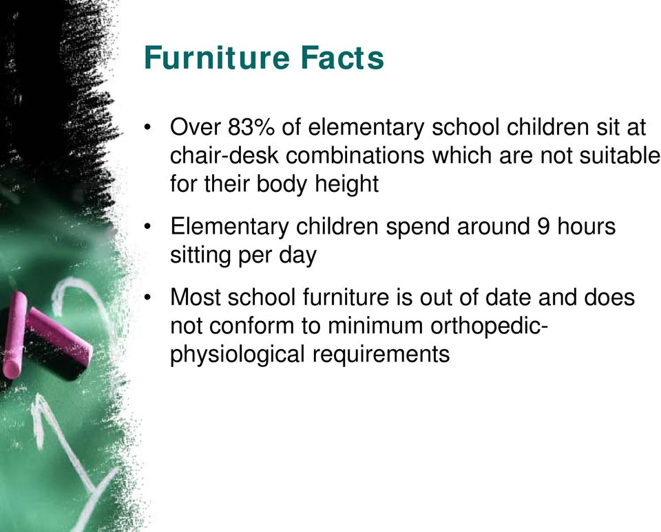 children spend around 9 hours sitting per day Most school furniture is
