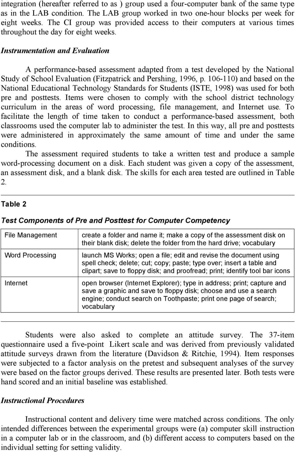 Instrumentation and Evaluation A performance-based assessment adapted from a test developed by the National Study of School Evaluation (Fitzpatrick and Pershing, 1996, p.