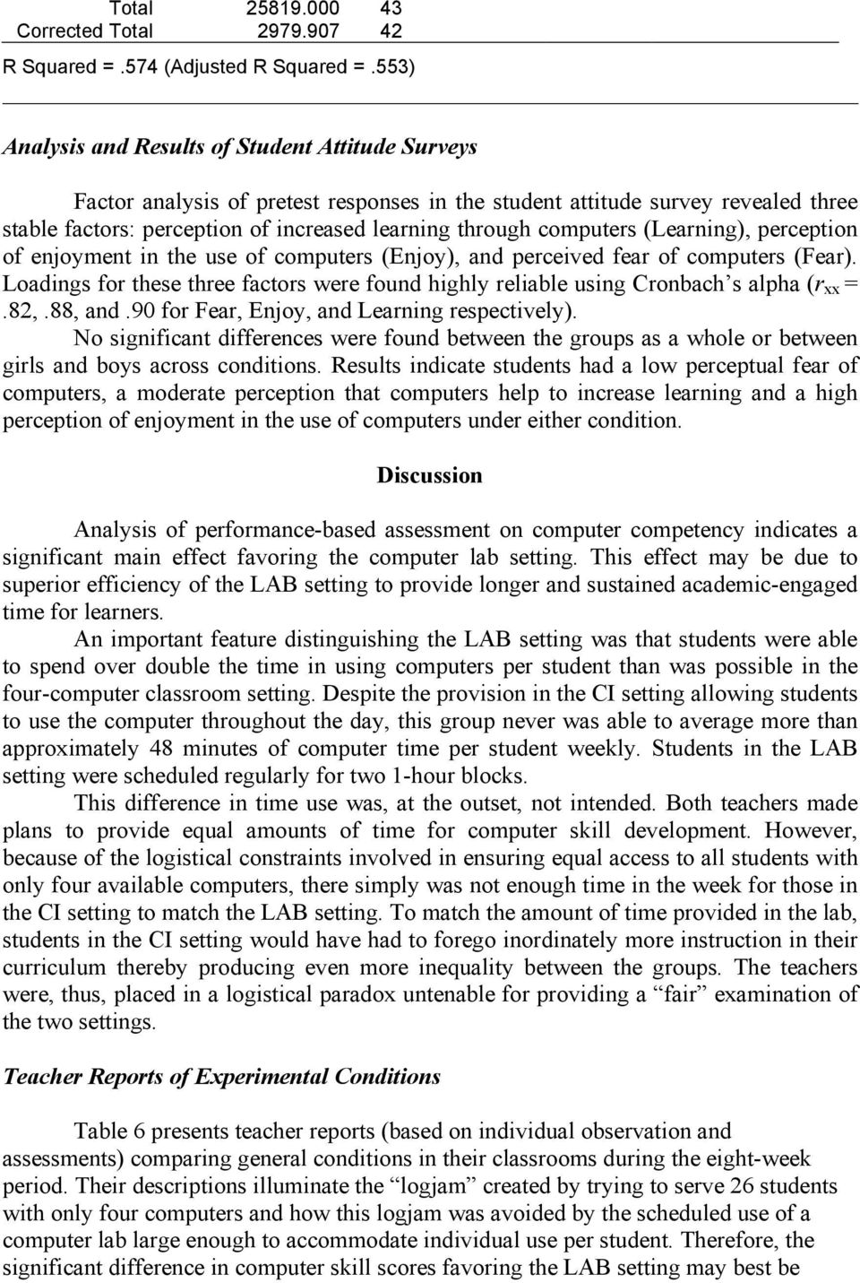 computers (Learning), perception of enjoyment in the use of computers (Enjoy), and perceived fear of computers (Fear).