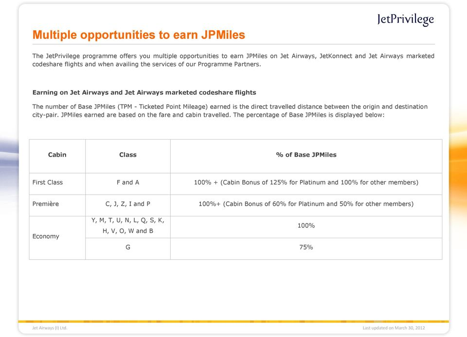 Earning on Jet Airways and Jet Airways marketed codeshare flights The number of Base (TPM - Ticketed Point Mileage) earned is the direct travelled distance between the origin and destination