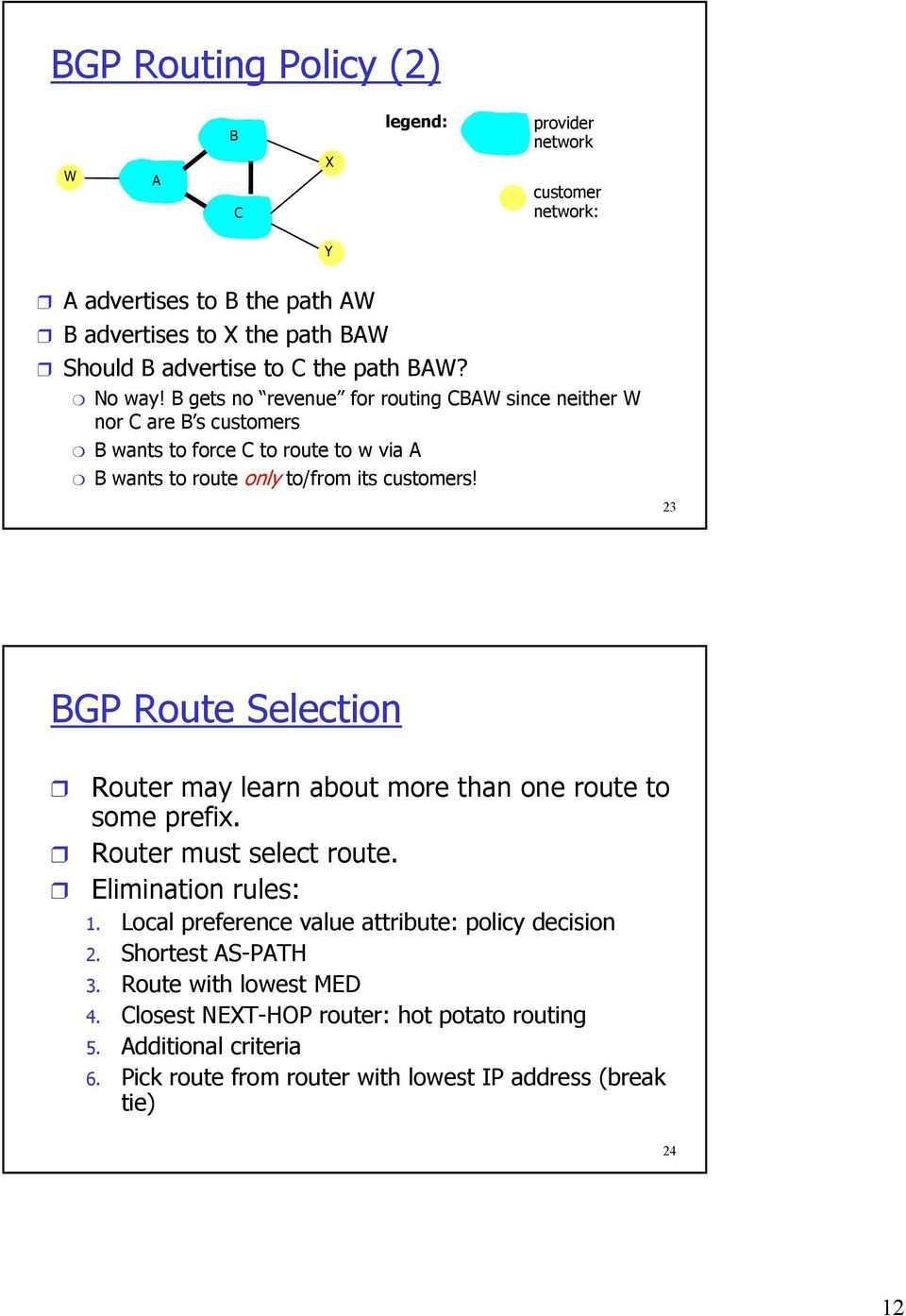 23 BGP Route Selection Router may learn about more than one route to some prefix. Router must select route. Elimination rules: 1.