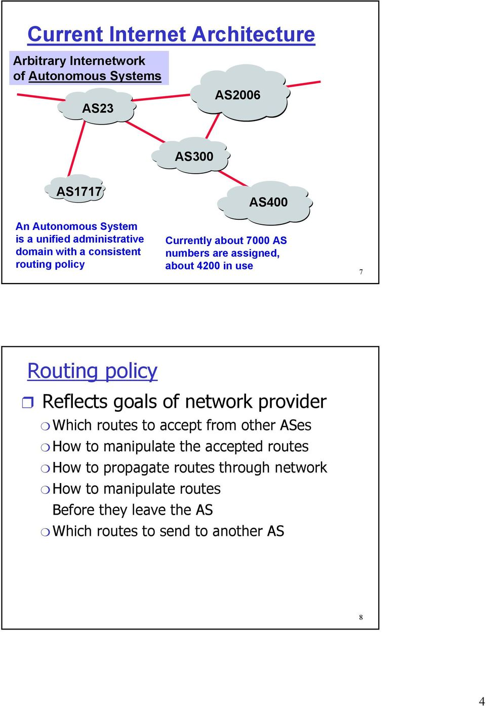 use 7 Routing policy Reflects goals of network provider Which routes to accept from other ASes How to manipulate the accepted