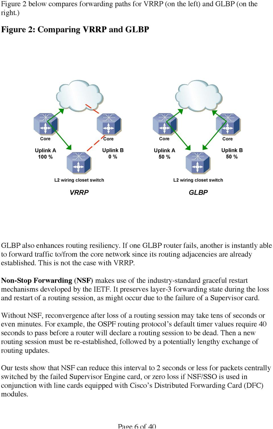 resiliency. If one GLBP router fails, another is instantly able to forward traffic to/from the core network since its routing adjacencies are already established. This is not the case with VRRP.