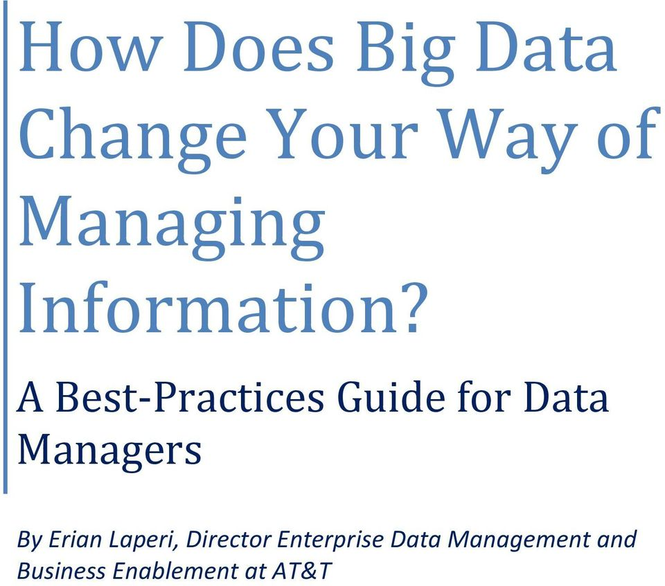 A Best-Practices Guide for Data Managers By