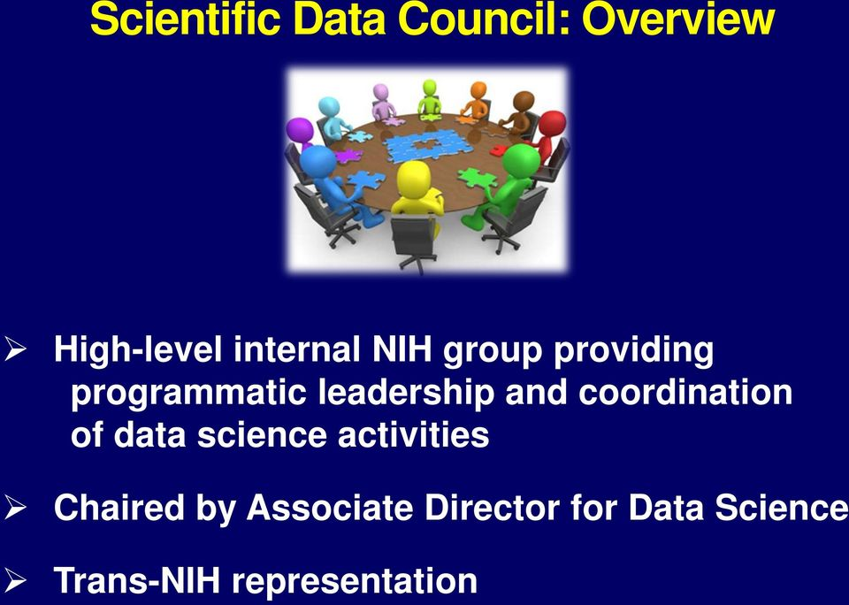 coordination of data science activities Chaired by