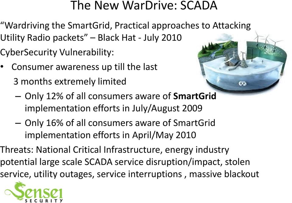 efforts in July/August 2009 Only 16% of all consumers aware of SmartGrid implementation efforts in April/May 2010 Threats: National Critical