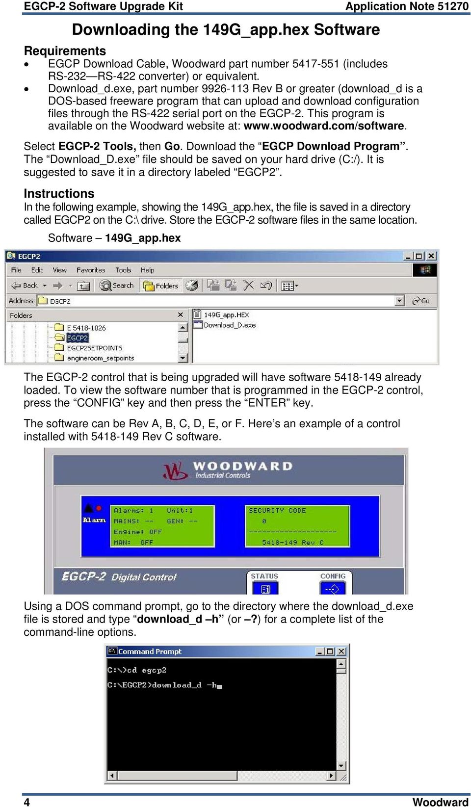 exe, part number 9926-113 Rev B or greater (download_d is a DOS-based freeware program that can upload and download configuration files through the RS-422 serial port on the EGCP-2.