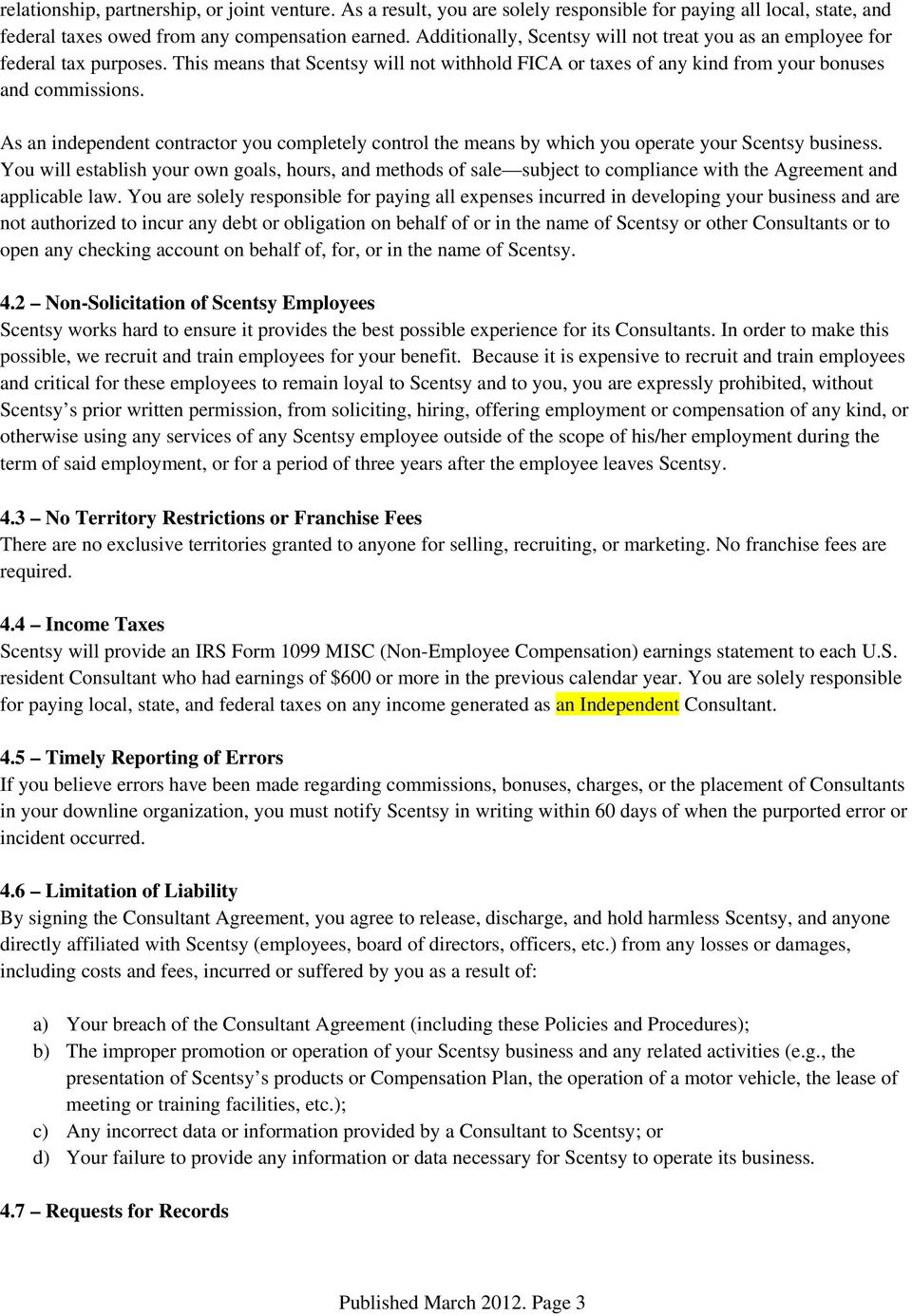 Scentsy Inc POLICIES and PROCEDURES United States PDF – Business Consulting Agreement